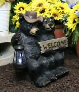 Rustic Black Bear Couple By Bench With Welcome Sign And Led Lantern Garden Statue