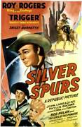 Old Large Roy Rogers Cowboy Movie Poster, Silver Spurs 1943