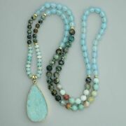 Women 108 Beads Mala Necklaces Amazonite And Blue Tianhe Stone Pendant Accessories
