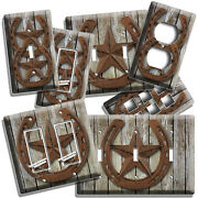 Rustic Western Cowboy Lone Star Horseshoe Light Switch Outlet Wall Plates Decor