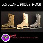 Roccoco Jewelry Silver Bronze Gold 'skating Boot' 2 In. Brooch Pin Free Shipping