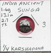 India Ancient Sunga Empire 1/4 Karshapana C185-75bcethree Arched Hills With Cr