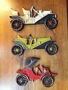 Vintage Midewest Cast Iron Lot Of 3 Antique Cars Wall Hanging Decor