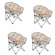 Mac Sports Foldable Padded Outdoor Club Chair With Carry Bag Beige 4 Pack