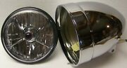 5-3/4 Inch Adjure Hb51010 Smooth Motorcycle Headlight/headlamp And Blue Dot Lamp