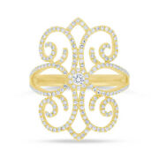 14k Yellow Gold Diamond Lace Paisley Cocktail Ring Womens Statement Right Hand
