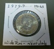 1979-p Susan B. Anthony 1 Dollar Clad Coin / Wide Rim / Near Date / Gold Toning