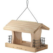 Woodlink Deluxe Cedar Wood Hanging Bird Feeder With Cable And Suet Cages, Brown