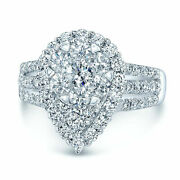 14k White Gold Pear Teardrop Diamond Cocktail Ring Round Cluster Natural 7 Women