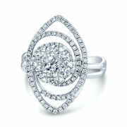 14k White Gold Diamond Swirl Marquise Halo Cocktail Ring Womens Right Hand Round
