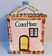 Super Rare 1940and039s Grantcrest Log Cabin Cookie House Jar Hand Painted Japan