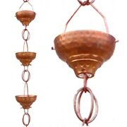 Fast Furnishings Pure Copper 8.5-ft Rain Chain With 13 Hammered Funnel Shape ...
