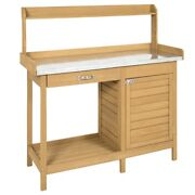 Fast Furnishings Natural Fir Wood Potting Bench Garden Work Table With Metal Top