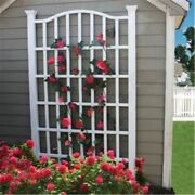 Fast Furnishings 7.5 Ft Garden Trellis In White Vinyl With Arch Top