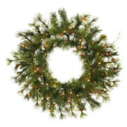 Vickerman 24 Mixed Country Pine Artificial Christmas Wreath With 50 Clear Li...