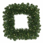 Vickerman 24 Oregon Fir Artificial Christmas Square Wreath With 50 Warm Whit...
