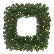 Vickerman 30 Oregon Fir Artificial Christmas Square Wreath With 70 Clear Lights