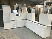 New White Gloss Complete Kitchen Display With White Matching Textured Units