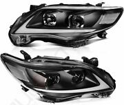 For Toyota Corolla 2011-2013 Black Headlights Assembly Pair Led Drl Replacement