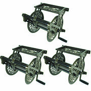 Liberty Garden Wall Mounted Heavy Aluminum Hanging Hose Reel W/ Guide 3 Pack