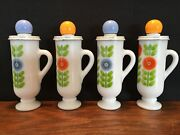 Lot Of 4 Avon White Glass Demi Cups Floral Design Lotion Bottles Limited Edition