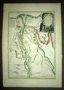 Map Geographic - Egypt Flag Case Old And Modern In Colors Per Bonne In 1762