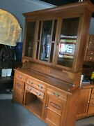 Vintage 2 Door Oak Kitchen Hutch Cabinet Stain And Leaded Glass 83.5andrdquo X 60andrdquo X 16.5