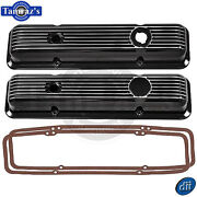 Sbc Lt1 Small Block Chevy Black Aluminun Polished Ribbed Valve Covers W/ Gaskets