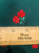Vintage Fabric Cold Rayon Flocked Fuzzy Red Roses Dark Hunter Green 46x1y+10