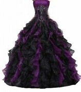Purple And Black Ball Gowns Wedding Quinceanera Dress Ruffle Party Prom Dresses