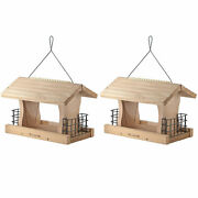 Woodlink Deluxe Cedar Wood Hanging Bird Feeder With Cable And Suet Cages 2 Pack