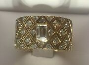 Lady's Vintage Art Deco Yellow Gold And Diamond Ring Size 7