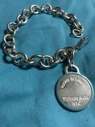 And Co Rolo Link Bracelet With Blue Round Large Charm Sterling 8 1/2 L