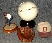 Baseball Glove Hat Ball And Pitcher Ceramic Desk Display Items Lot Of 4 Different