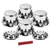 Chrome Round Axle Cover Combo Kit W/ 33mm Original Nut Cover And Nut Covers