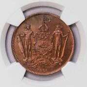 Ngc-sp66rb 1886h British North Borneo Cent Top Grade Much Red