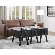 Three Drawers Wooden Convertible Coffee Table With Angled Legs, Black