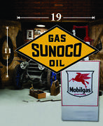 19 X 11 Vintage Sunoco Shield Gas Vinyl Decal Lubester Oil Pump Can Lubster