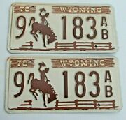 Mint Wyoming 1978 Passenger Pair License Plate Plates 9 183 Ab  Bronco Wy