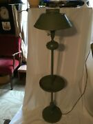 Vintage Green / Gold Tole Ware Floor Lamp Tole Light Shade W/ Pierced Tray
