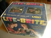 Lite Brite 1967 Hasbro Box 657 Glow Pegs Picture Paper Works Pictures