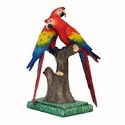 3' Scarlet Macaw Parrot Lovers On Branch Resin Statue Zoo Prop Display Figurine