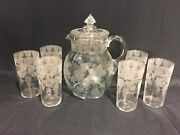 Rare 1920's Cambridge Glass Martha Grape Etched Pitcher And 6 Glasses Water Set