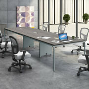 8ft - 12ft Modern Conference Table With Metal Base And Optional Power Data Modules
