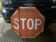 Original 1930and039s Steel Traffic Stop Sign Raised Letters Sign Embossed Car Truck
