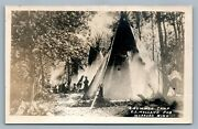 Warroad Mn Summer Camp Antique Real Photo Postcard Rppc