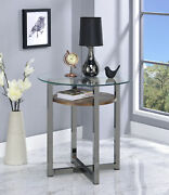 Acme Furniture Janette - End Table Weathered Oak, Black Nickel And Clear Glass