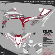 Dfr Traction Graphic Kit Gray Yamaha Red Sides/fenders 2014-newer Yamaha Yfz450r