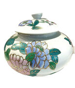 Chinese Exports Hand Painted Flowered Gold Trim Large Ginger Jar With Lid Vtg
