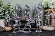 Set Of 12 Miniature Medieval Suit Of Armor Knights With Battle Weapons Figurines